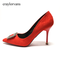 2017 Women S High Heels Wedding Shoes Gold Red Silver Rhinestone Sweet Bridal Shoes Heel Height