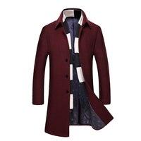 Nisexper Marka Yeni Uzun Yün Ceket Mens Moda Bezelye Ceket Ceket Yün Kış Ceketler Erkek Yün Palto Büyük Boy 4XL