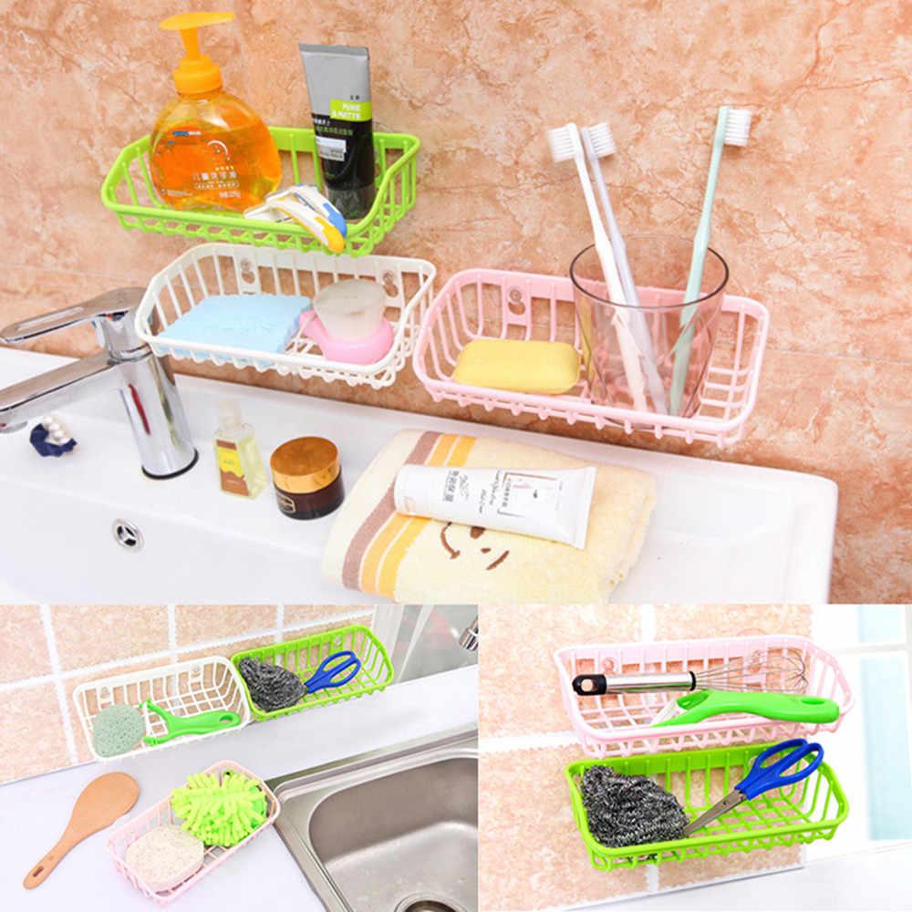 Copo de Sucção dupla Drenagem Cozinha Prateleira Multifuncional Rack de Armazenamento Esponja De Lavagem Cesta de Pano Ou Sabonete Prateleira Organizador