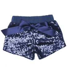 Navy Glittery Sequin Shorts blue Baby Girls Birthday Clothes Cake Smashing  Outfit gold sequin sparkle short 1de5d052f015