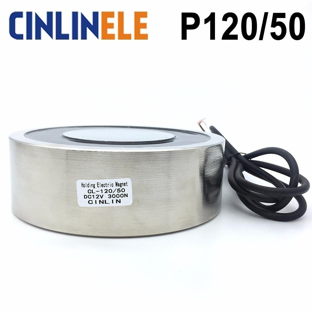 CL-P 120/50 300KG/3000N Holding Electric Magnet Lifting  Solenoid Sucker Electromagnet DC 6V 12V 24V Non-standard custom holding electric magnet electromagnet lifting p10 10 dc12v 24v 0 3kg 3n waterproof solenoid sucker electromagnet