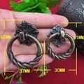 Inestable anillos de latón antiguo Manijas tirones del cajón Del Gabinete Perilla de los Muebles Perilla Tirón de loto de la Vendimia de bronce zapato gabinete tira perillas