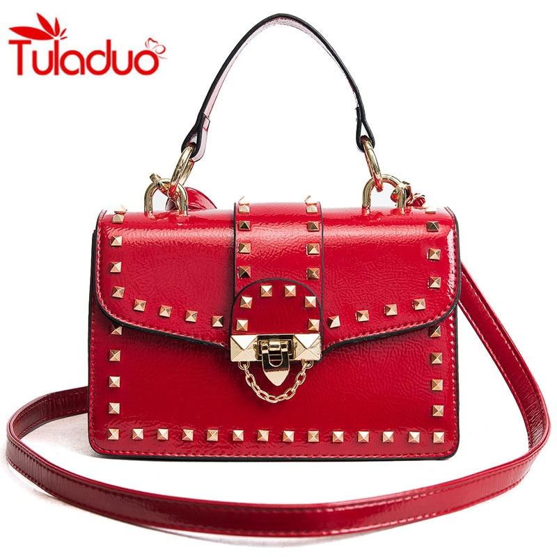 2018 Rivet Small Square Bags Luxury Handbags Lock Design Womens Shoulder Handbags Ladies Fashion Totes Women Crossbody Bag Sac