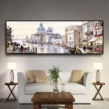 Абстрактная картина маслом Венецианский город воды на холсте