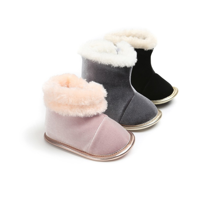 Winter Warm Baby Boots Solid Bling Boys Girls Shoes Russia Infants Warm Shoes Faux Fur Girls Baby Booties Leather Baby Boots