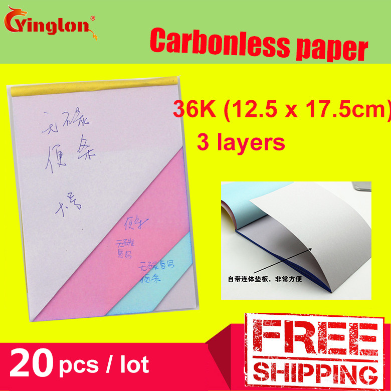 Free Shipping 5pcs / Lot 32K Blank 3 Layer Carbonless Paper Triple Layer Handwritten Sales Note Memorandum Sheet Letter Pad