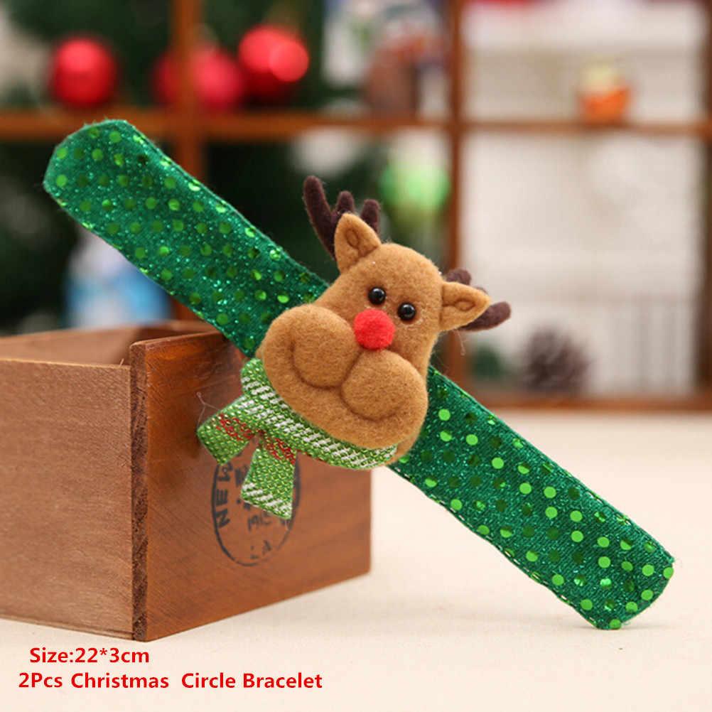 1/2/5Pcs Natal Menepuk Clap Lingkaran Gelang Pesta Pergelangan Tangan Dekorasi Menonton Santa Claus Manusia Salju Tahun Baru natal Anak Hadiah Mainan