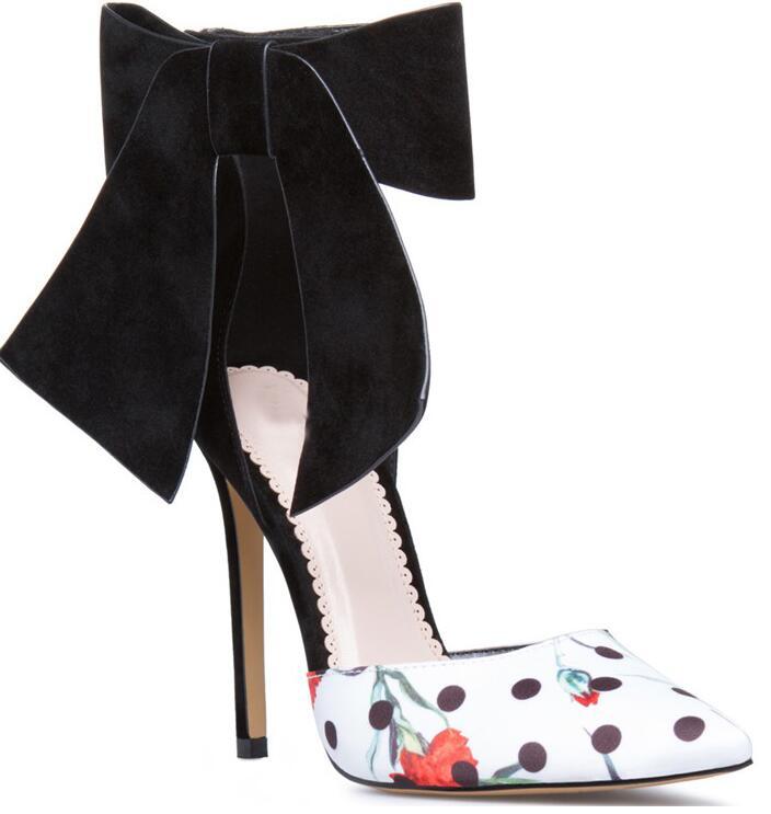 Cuir Arc Fleurs Femmes Chaussures Couleurs En Sexy Cheville Talons Toe De Mélangées Dames Velours Hauts Partie Point Noir Élégant Pompes Mode WTn7tt