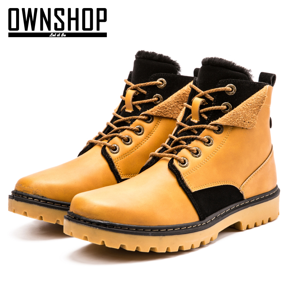 ФОТО Men Boots Yellow Male Shoes PU Leather Winter Boots Fashion For Men New Design Warm Boot Shoes With Fur Mens Winter Shoes