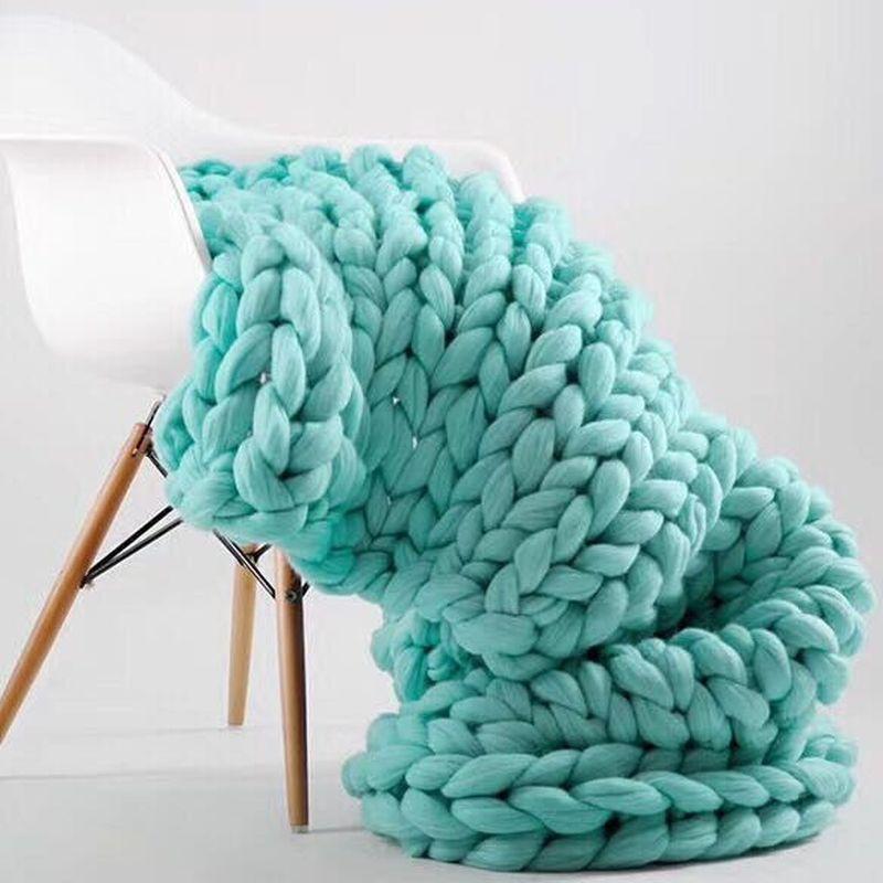 100x180cm Fashion Hand Chunky Wool Knitted Blanket Thick Yarn Merino Wool Bulky Knitting Throw Blankets Chunky Knit Blanket(China)