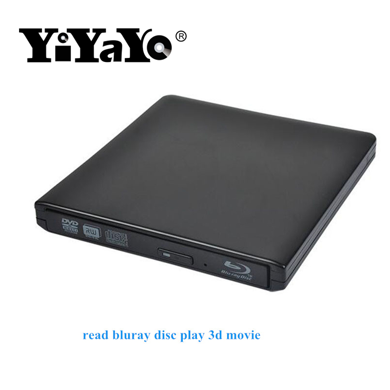 цена на YiYaYo Bluray Burner USB 3.0 DVD-ROM Player External Optical Drive BD-ROM Blu-ray CD/DVD RW Writer Recorder for MACbook Laptop