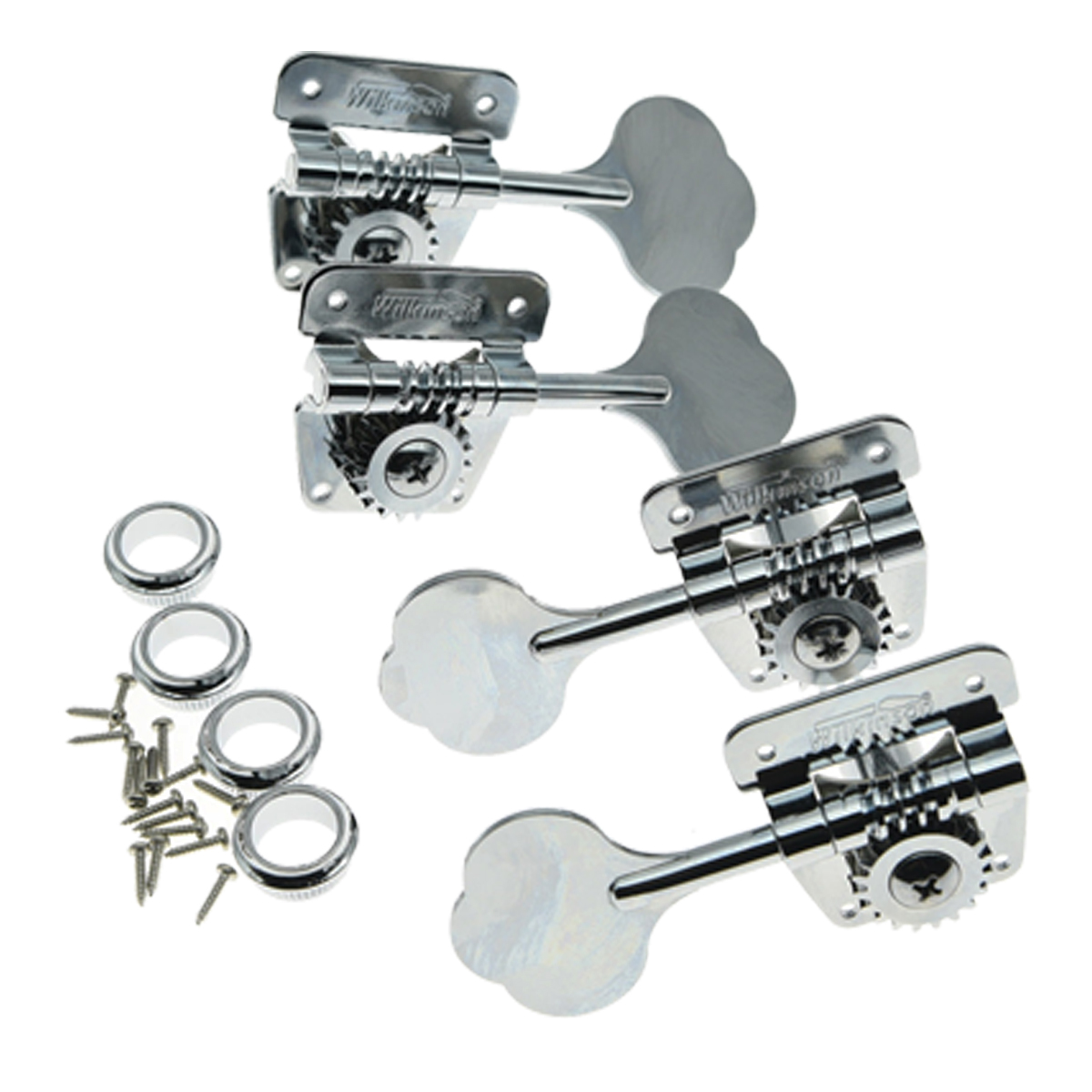 Wilkinson Black/Chrome Bass Tuners Tuning Pegs for 70s Vintage J Bass Precision P Bass kaish black 6 inline 2 pin locking tuning keys pegs tuners fits usa strat tele
