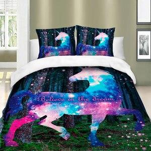 Image 2 - カラフルなユニコーン寝具セット布団カバー寝具ツイン女王キングサイズ 3 個ホームテキスタイル