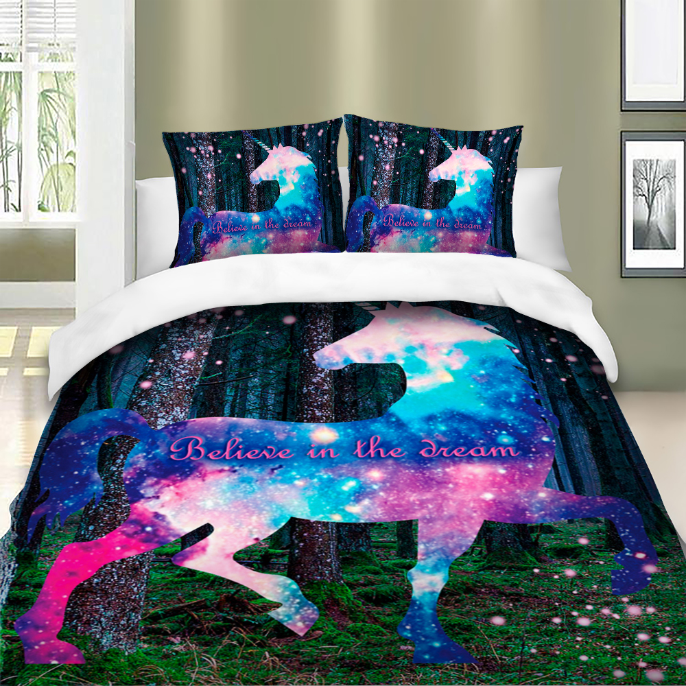 Image 2 - Colorful unicorn Bedding Set Duvet Cover Bedclothes Twin queen king size 3pcs Home Textiles-in Bedding Sets from Home & Garden