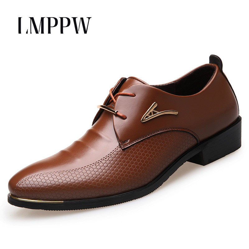 Big Size 38-46 Fashion Men Dress Shoes Pointed Toe Lace Up Men's Business Casual Shoes Brown Black Leather Oxfords Shoes 2A fashion pointed toe lace up mens shoes western cowboy boots big yards 46 metal decoration page 8