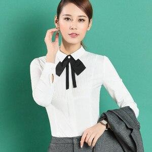 Image 4 - Neue Frühjahr Elegante Fliege Frauen Weißes Hemd OL Formale Dünne Lange Sleeve Chiffon Blusen Büro Damen Plus Größe arbeit Tragen Tops