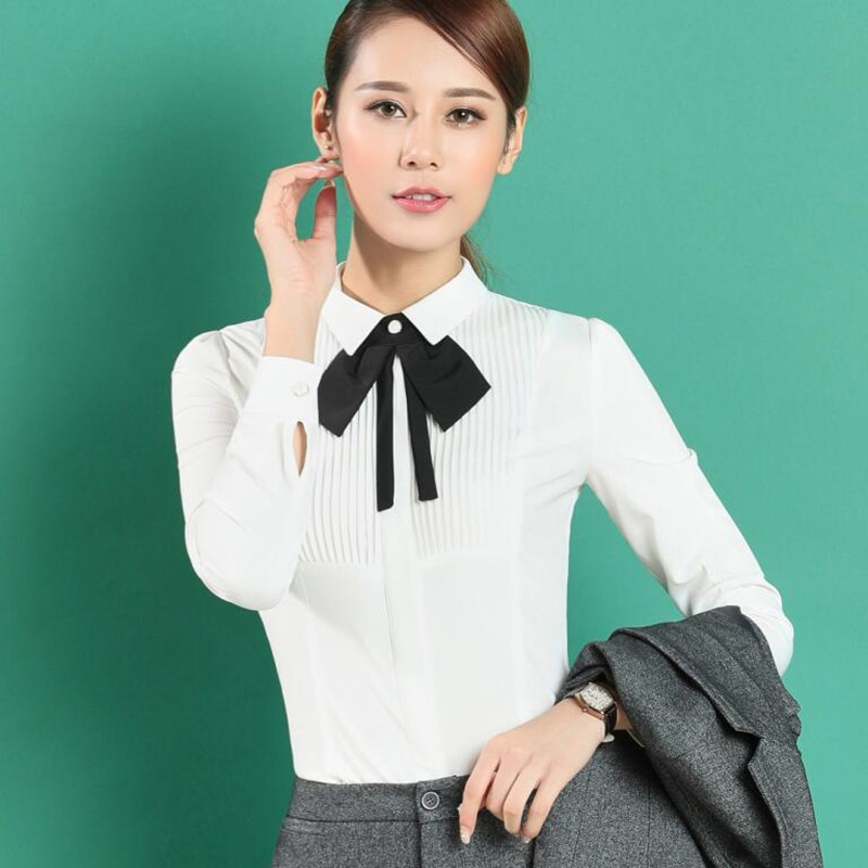 Image 4 - New spring elegant bow tie women white shirt OL formal slim long sleeve chiffon blouses office ladies plus size work wear topswomen white shirtchiffon blouseblouse office -