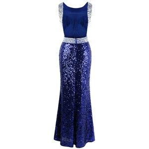 Image 2 - Engel fashions Perlen Vintage 1920S Pailletten Masque Kostüm Ball Prom Kleider Goldene Blau 090