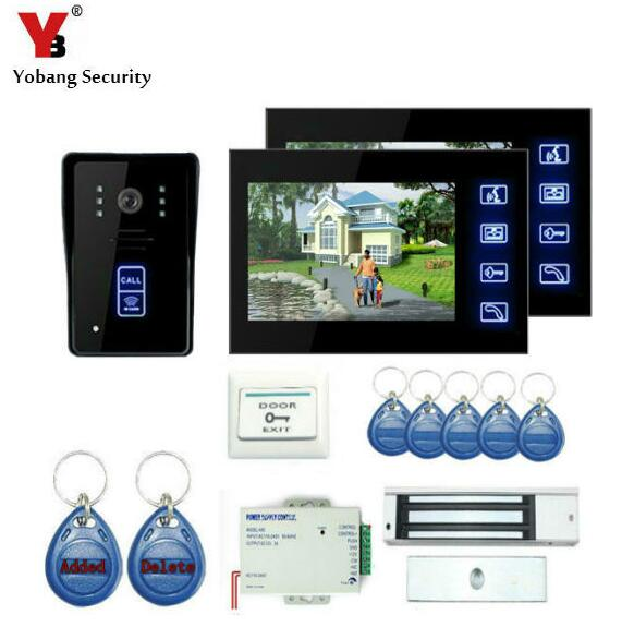 YobangSecurity 7 Inch Video Door Phone Intercom Doorbell Home Entry Intercom System Kit 2 Monitors 1 Camera With Electronic Lock yobangsecurity 7 inch video door phone intercom doorbell home entry intercom system kit 1 monitors 1 camera with rfid id keyfobs