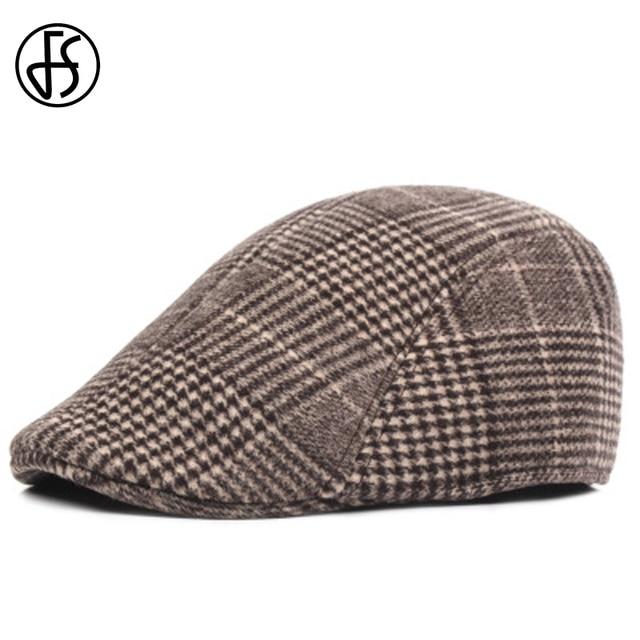FS a cuadros de moda sombreros Para hombre sombrero Unisex invierno gorras  planas mujeres espesar boinas d62b709c861