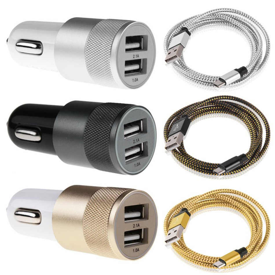 2 in1 100cm Aluminum Micro USB Data Line Charging Cable Cord for Android Phones with 1A