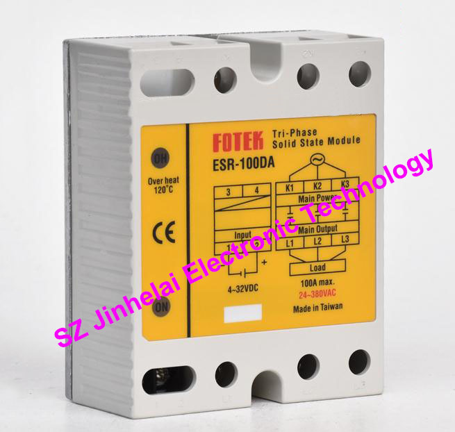 New and original FOTEK 3-Phase Solid state module  ESR-100DA   100A 100% new and original fotek photoelectric switch a3g 4mx mr 1 free power photo sensor