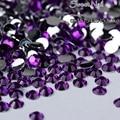 400pcs 2 mm - 6 mm Mixed Size charming beautiful Dark Purple 14 facet round diamond sparkling acrylic nail art decoration N15