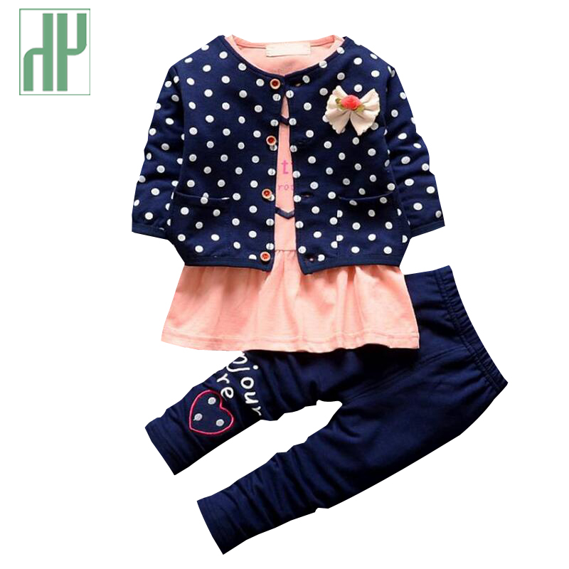 Buy 3pcs suit newborn baby girl clothes kids spring winter wave point clothing Mla winter style fashion set