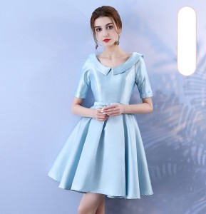 Blue Colour Above Knee Mini Dress  Bridesmaid Dress  Wedding Guest Dress  Empire Back of Bandage