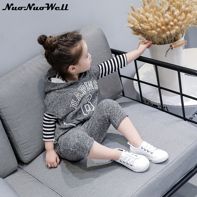 2Pcs Set Spring Autumn Girls Clothes Hooded Tops+Pants Soft Cotton Striped T-shirt Set Hot Sale Baby Girls Casual Clothing Sets hot sale spring autumn fashion beautiful style maternity tops t shirts plus size slim casual loose casual maternity clothes t s