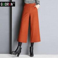 Winter broek vrouwen wijde pijpen broek wol hoge taille losse rechte causale broek vrouwelijke broek formele patchwork enkellange