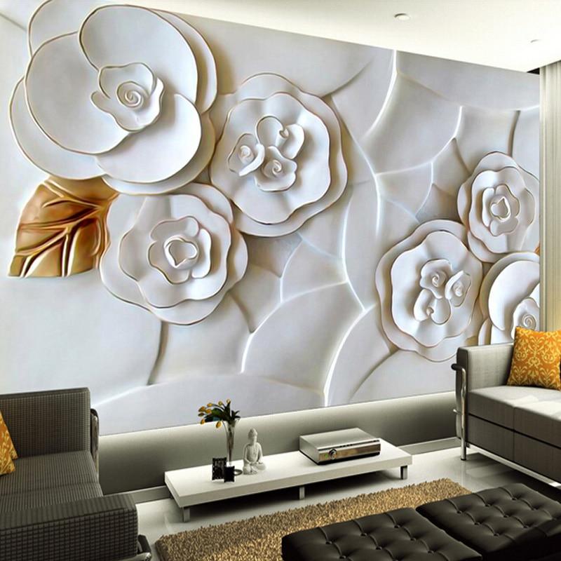 Custom 3D Photo Wallpaper White Rose Flower 3D Stereoscopic Relief Mural Paintings Living Room Background Wallpaper Modern Art