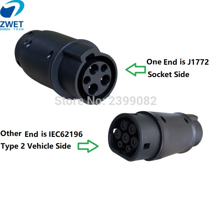 ZWET j1772 connector ev car charger Type 1 and Type2 adapter Electric Vehicle Charging Adapte