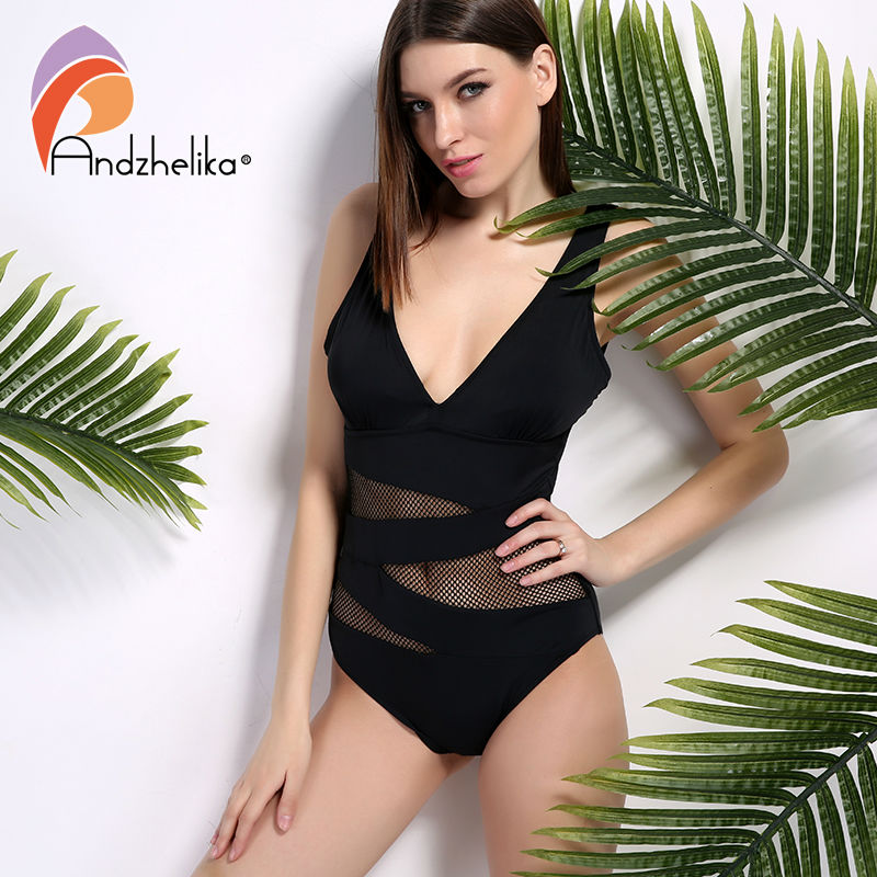 Andzhelika 2018 One Piece Swimsuit Sexy Women V-Neck Bodysuit Mesh Hollow Out Swimwear Halter BathingSuit Maillot de bain AK5828