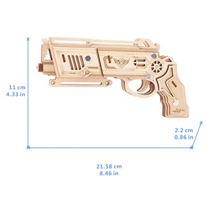 Image 4 - Laser Cutting DIY 3D Wooden Puzzle Woodcraft Assembly Kit Hunting wolf Eagle Train Dragon Rubber Band Gun For Christmas Gift