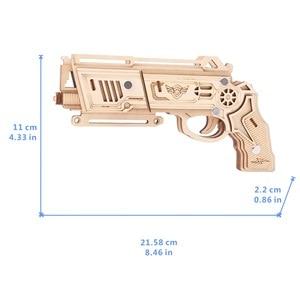 Image 4 - Pistolet à ruban en caoutchouc, découpe Laser, Puzzle en bois 3D, Kit dassemblage artisanal en bois, chasse, loup, aigle, Train, Dragon, cadeau de noël