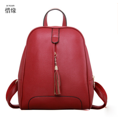 XIYUAN BRAND Famous Brand Backpack Women Backpacks Solid Vintage Girls School Bags for Girls Black PU Leather Women Backpack red