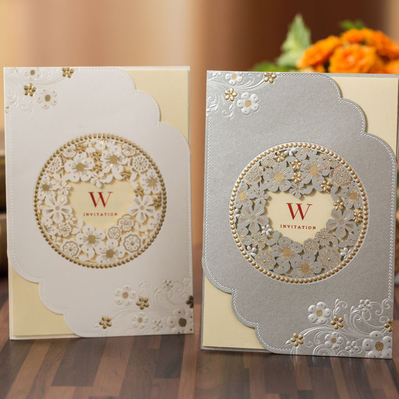 100 pieces lot Gold Foil Embossed Flower White Marriage Card Customized Print Silver Grey Wedding