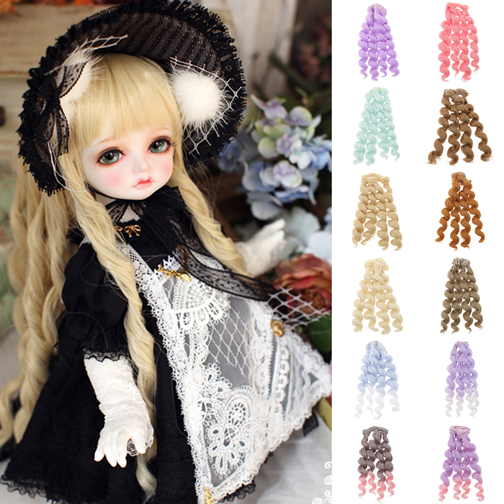 Wholesale DIY Curly 15x100cm Hair Wig Hairpiece for 1/3 1/4 1/6 BJD SD Doll Party Accessory Fashion Hair Replacement Girl Gift 1 3 1 4 1 6 1 8 1 12 bjd wigs fashion light gray fur wig bjd sd short wig for diy dollfie