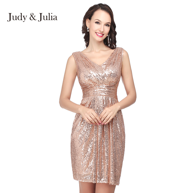 ad35a6a26a Real Photo V Neck Sleeveless Short Mini Rose Gold Sequins Cocktail Party  Dresses SD385