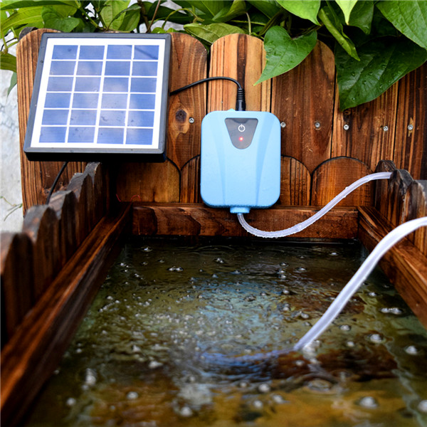 Durable small solar powered dc charging oxygenator fishing for Solar fish for pools