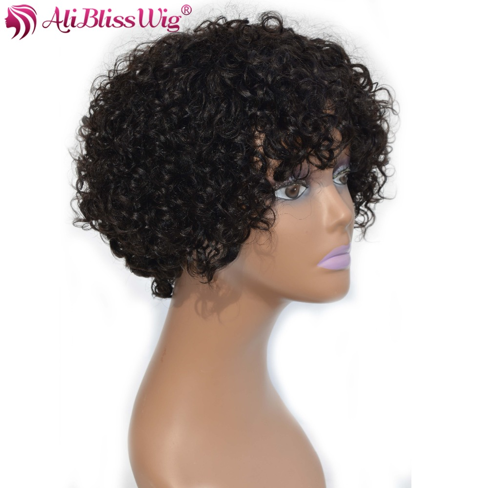 AliBlissWig Curly Short Wigs For Black Women #1B Color Brazilian Non-Remy Hair None Lace Human Hair Wigs Medium Cap Machine Made (3)