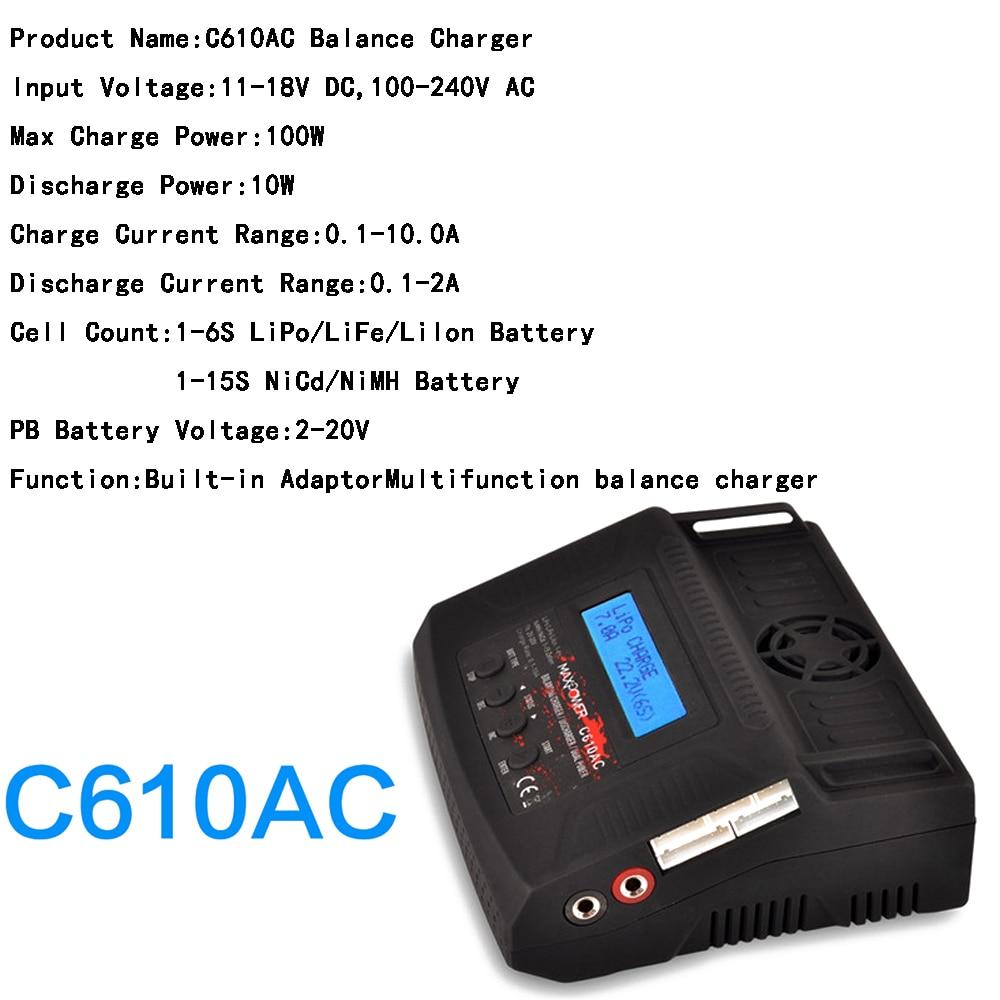1 pièces C610AC 100 W 10A AC/DC double chargeur/déchargeur pour LiPo/vie/Lilo/NiMH/NiCd RC batterie de voiture