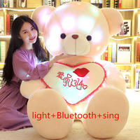 Creative Light Up LED Teddy Bear Bluetooth singing Bear Stuffed Animals Plush Toy Colorful Glowing Teddy Bear Gift for girl kids