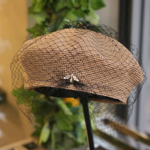 Image 3 - 01903 shi 2019 new summer handmade fine paper bee Exquisite woven lady mesh beret cap  women leisure  hat