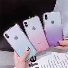 Moskado For iPhone 8 7 Plus X XR Soft Silicone Cases XS Max 6 6s Luxury Glitter Flash Drilling Phone Case Fundas