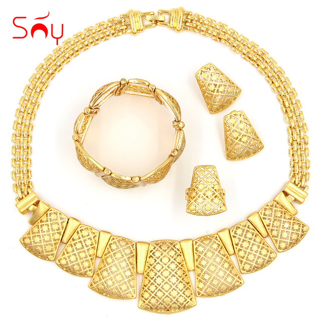 Sunny Jewelry Fashion 2017 Women Bridal Wedding Sets High Quality Lock Necklace Earrings Bracelet