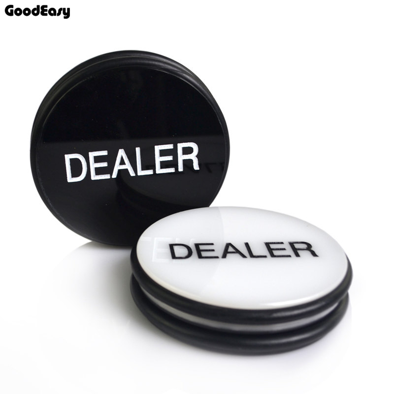 HOT SALE 1PCS Acrylic Pokerstars Dealer Button Texas Holdem 3inch Pressing Poker Cards Guard poker Dealer Button-Black White