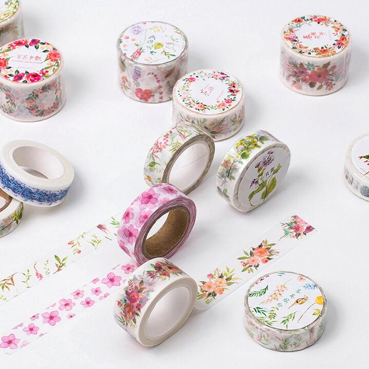 5J101-112  The Sea of Flowers Decorative Washi Tape DIY Scrapbooking Masking Tape School Office Supply forest park plant tree leaf model big particles building blocks toys set bricks diy accessory child gift compatible with duplo