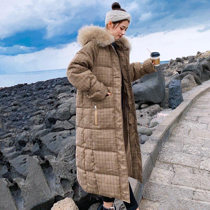 Kadın Giyim'ten Şişme Montlar'de Kore Tarzı 2019 Kış Ceket Kadınlar Kapşonlu Kürk x uzun uzun kaban Kalınlaşmak sıcak Yastıklı Parka Yüksek Kaliteli'da  Grup 3
